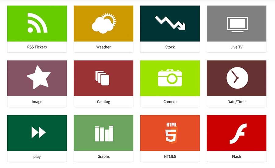 Componentes que se pueden utilizar en el software de gestión de contenidos para pantallas 2