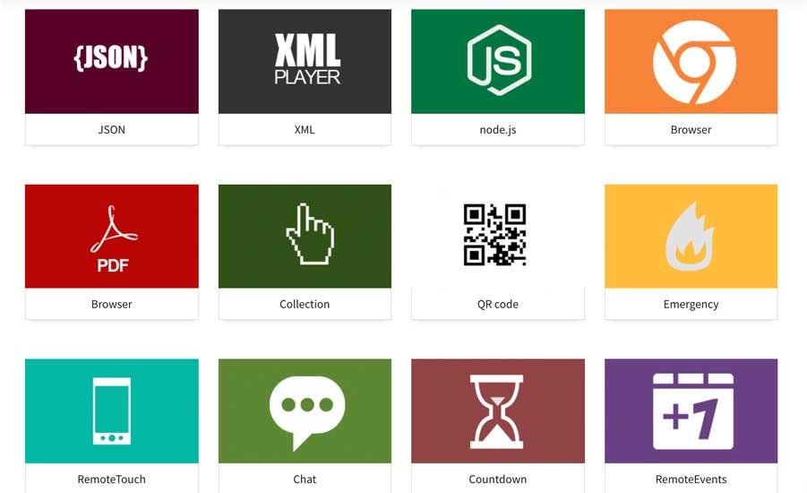Componentes que se pueden utilizar en el software de gestión de contenidos para pantallas
