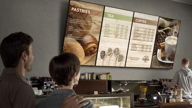 monitores con menu board en restaurantes como el burguer king