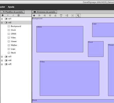 diseño de pantallas o zonas en el software profesional de gestión de contenidos para pantallas